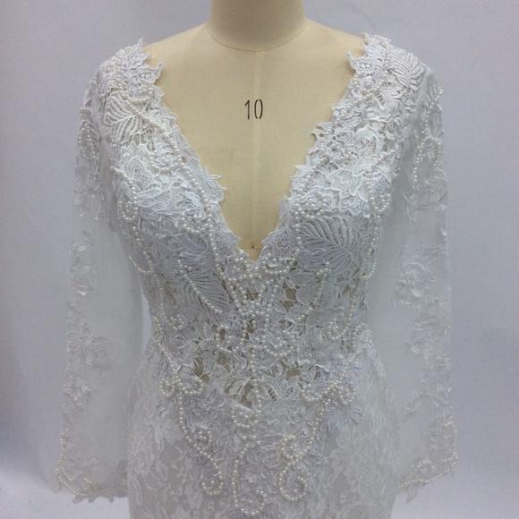 eb03bb574a Dresses | Darius Cordell Vneck Long Sleeve Wedding Dress | Poshmark
